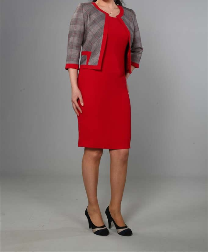 Gri Çizgili Kırmızı Hostes kıyafeti