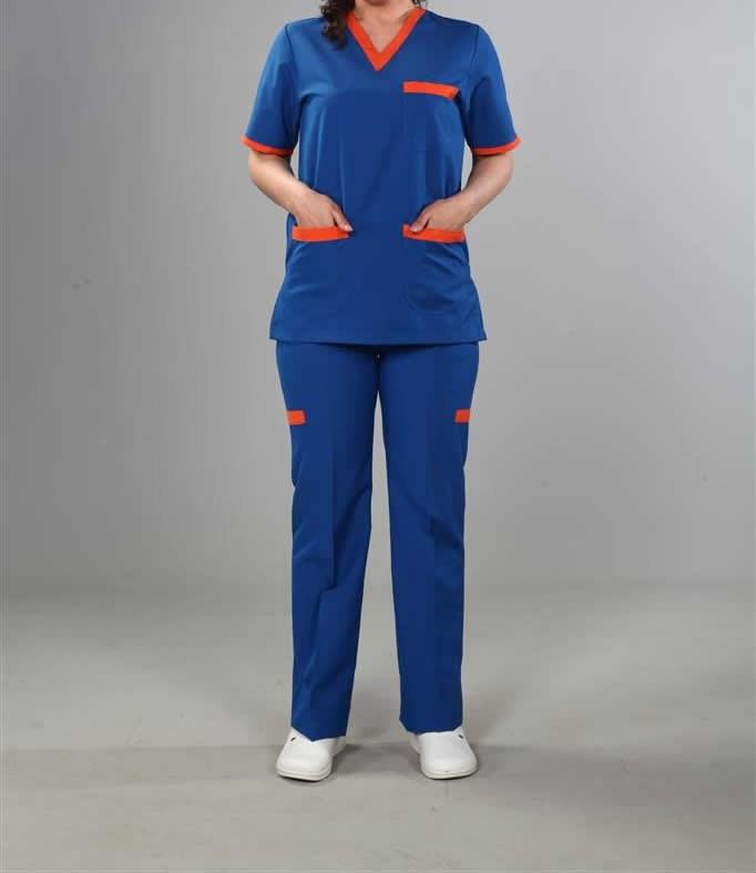 Koyu Mavi Hemşire Kıyafeti