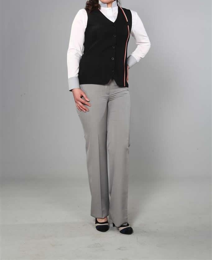 Pantolonlu Siyah Kadın Otel Kıyafeti