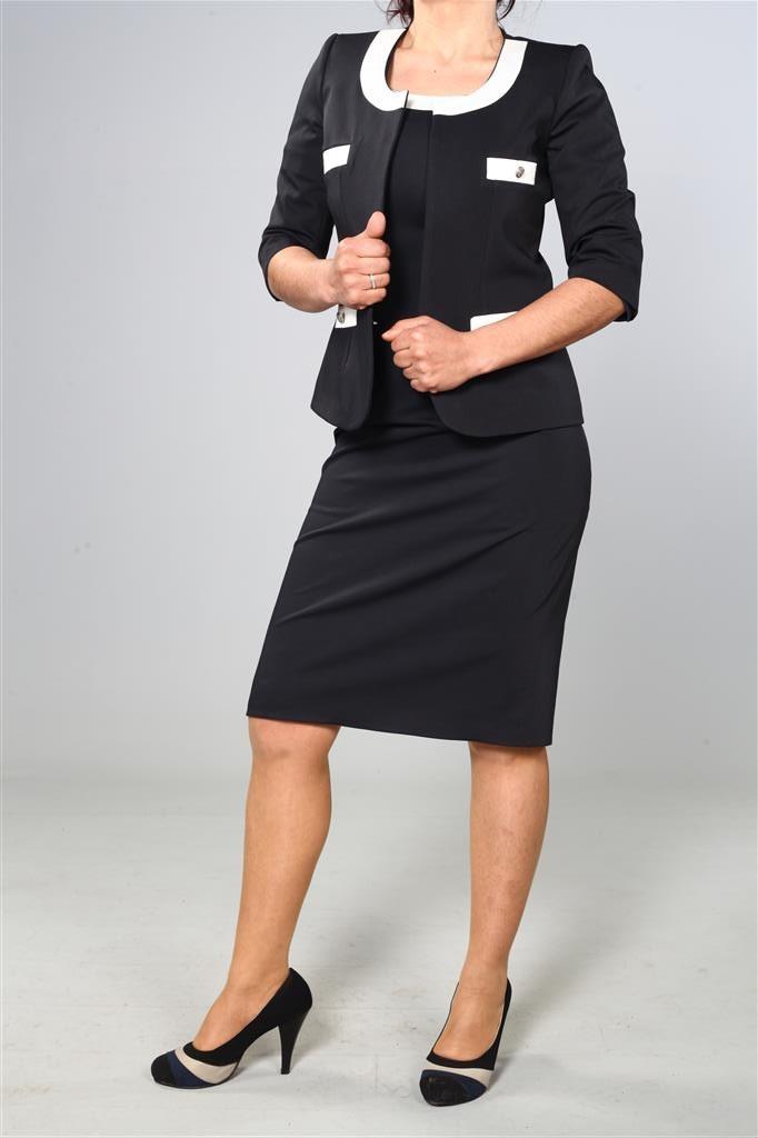 Siyah Kadın Hostes Kıyafeti